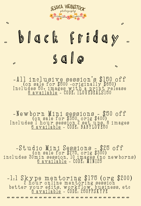 Black Friday Deals Jessica Weinstock Photography